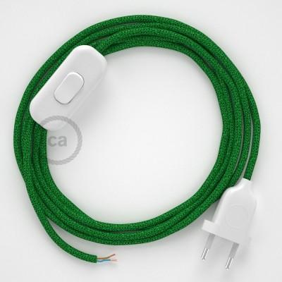 Napájecí kabel pro stolní lampu, RL06 Zelený třpytivý hedvábní 1,80 m. Vyberte si barvu zástrčky a vypínače.