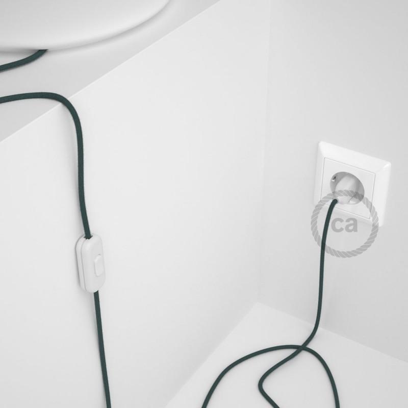 Napájecí kabel pro stolní lampu, RC30 Kamenově šedý bavlněný 1,80 m. Vyberte si barvu zástrčky a vypínače.