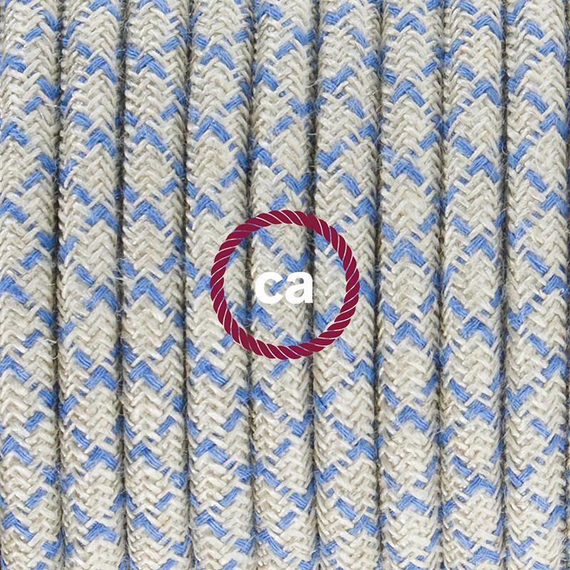 Napájecí kabel pro stolní lampu, RD65 Kosočtvercově modrý bavlněně lněný 1,80 m. Vyberte si barvu zástrčky a vypínače.