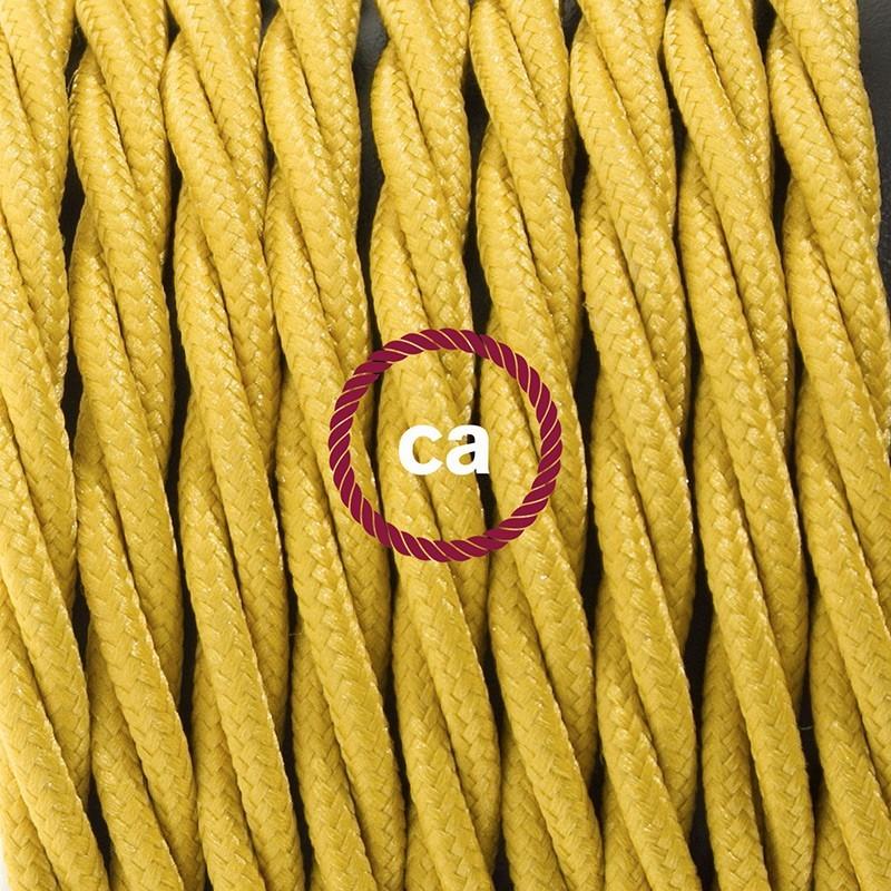 Napájecí kabel pro stolní lampu, TM25 Hořčicový hedvábní 1,80 m. Vyberte si barvu zástrčky a vypínače.