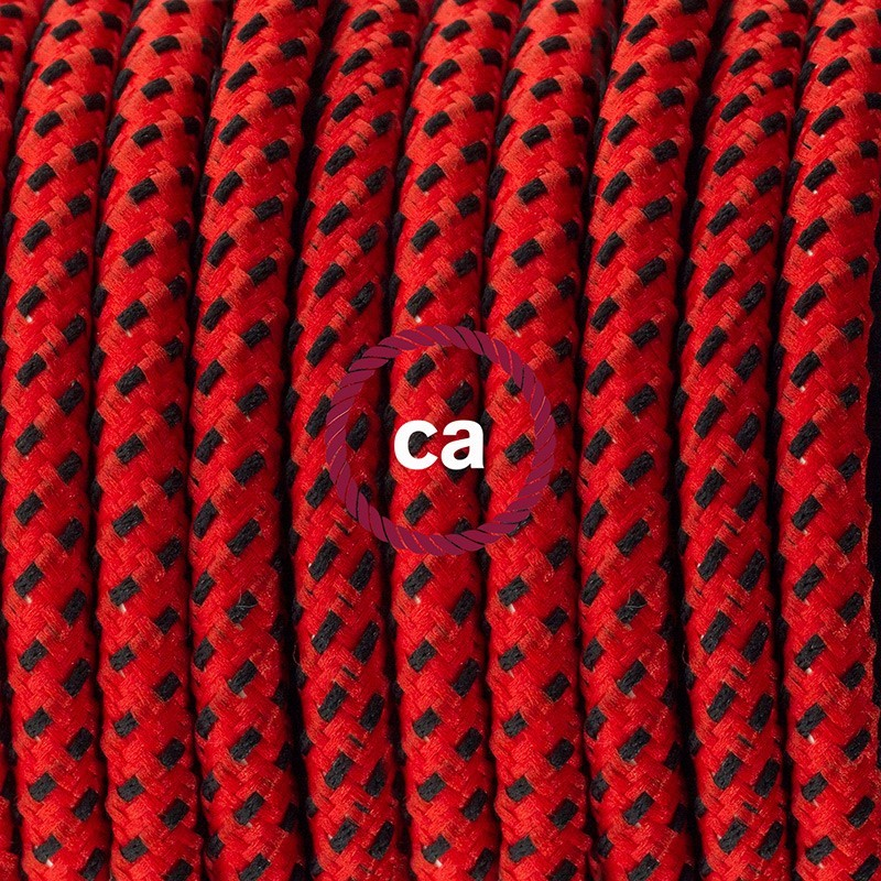 Napájecí kabel pro stolní lampu, RT94 Ďábelsky červený hedvábní 1,80 m. Vyberte si barvu zástrčky a vypínače.