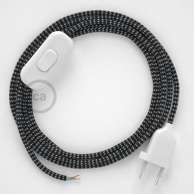 Napájecí kabel pro stolní lampu, RT41 Stars hedvábní 1,80 m. Vyberte si barvu zástrčky a vypínače.