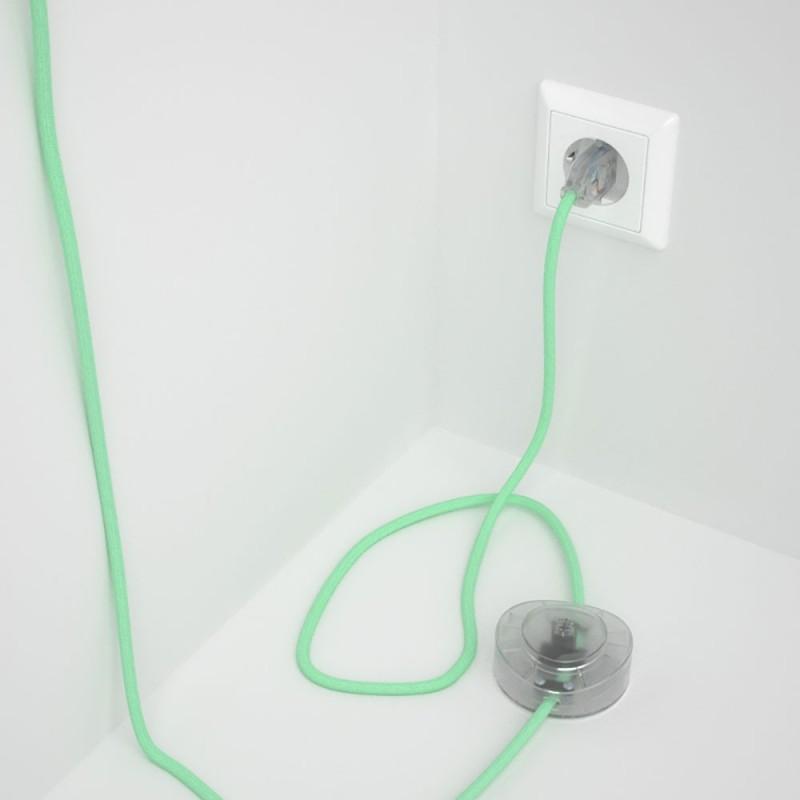 Napajecí kabel pro stojící lampu, RC34 mátově zelený bavlněný 3 m. Vyberte si barvu vypínače a zástrčky.