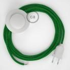 Napajecí kabel pro stojící lampu, RL06 třpytivý zelený hedvábný 3 m. Vyberte si barvu vypínače a zástrčky.