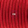 Napajecí kabel pro stojící lampu, RL09 třpytivý červený hedvábný 3 m. Vyberte si barvu vypínače a zástrčky.