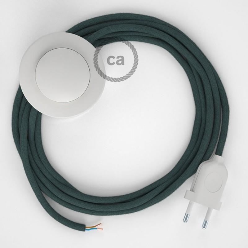 """Napajecí kabel pro stojící lampu, RC30 """"kamenově"""" šedý bavlněný 3 m. Vyberte si barvu vypínače a zástrčky."""