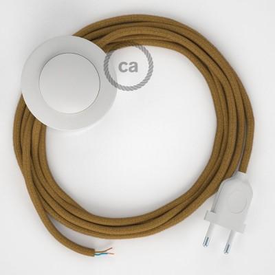 Napajecí kabel pro stojící lampu, RC31 medový bavlněný 3 m. Vyberte si barvu vypínače a zástrčky.