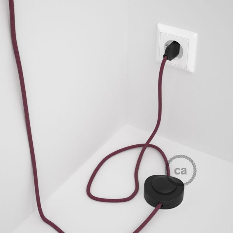 Napajecí kabel pro stojící lampu, RC32 bordový bavlněný 3 m. Vyberte si barvu vypínače a zástrčky.