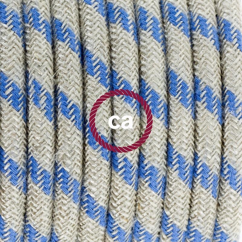 Napajecí kabel pro stojící lampu, RD55 modrý pruhovaný bavlna a přírodní len 3 m. Vyberte si barvu vypínače a zástrčky.