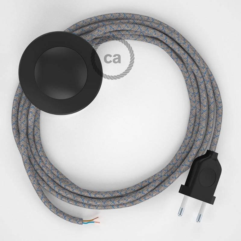 Napajecí kabel pro stojící lampu, RD65 modrý kosočtvercový bavlna a přírodní len 3 m. Vyberte si barvu vypínače a zástrčky.