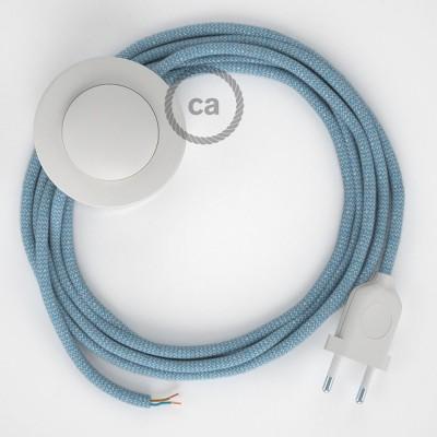 Napajecí kabel pro stojící lampu, RD75 modrý cik - cak bavlna a přírodní len 3 m. Vyberte si barvu vypínače a zástrčky.