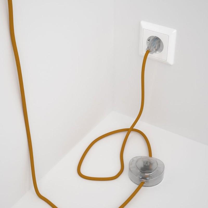 Napajecí kabel pro stojící lampu, RM25 hořčicový hedvábný 3 m. Vyberte si barvu vypínače a zástrčky.