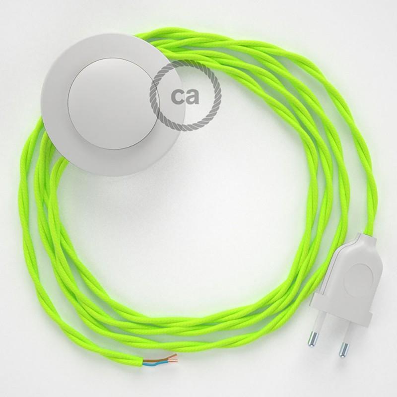 Napajecí kabel pro stojící lampu, TF10 neonový žlutý hedvábný 3 m. Vyberte si barvu vypínače a zástrčky.