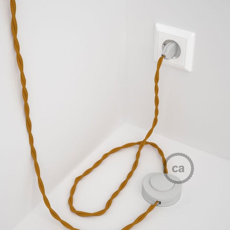 Napajecí kabel pro stojící lampu, TM25 hořčicový hedvábný 3 m. Vyberte si barvu vypínače a zástrčky.