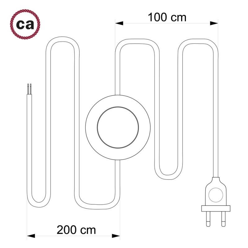 Napajecí kabel pro stojící lampu, RM26 Tmvě šedý hedvábný 3 m. Vyberte si barvu vypínače a zástrčky.