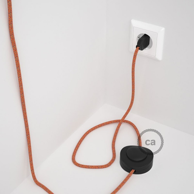 """Napajecí kabel pro stojící lampu, RX07 """"Indian Summer"""" bavlněný 3 m. Vyberte si barvu vypínače a zástrčky."""