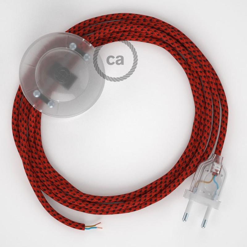 Napajecí kabel pro stojící lampu, RT94 ďábelsky červený hedvábný 3 m. Vyberte si barvu vypínače a zástrčky.