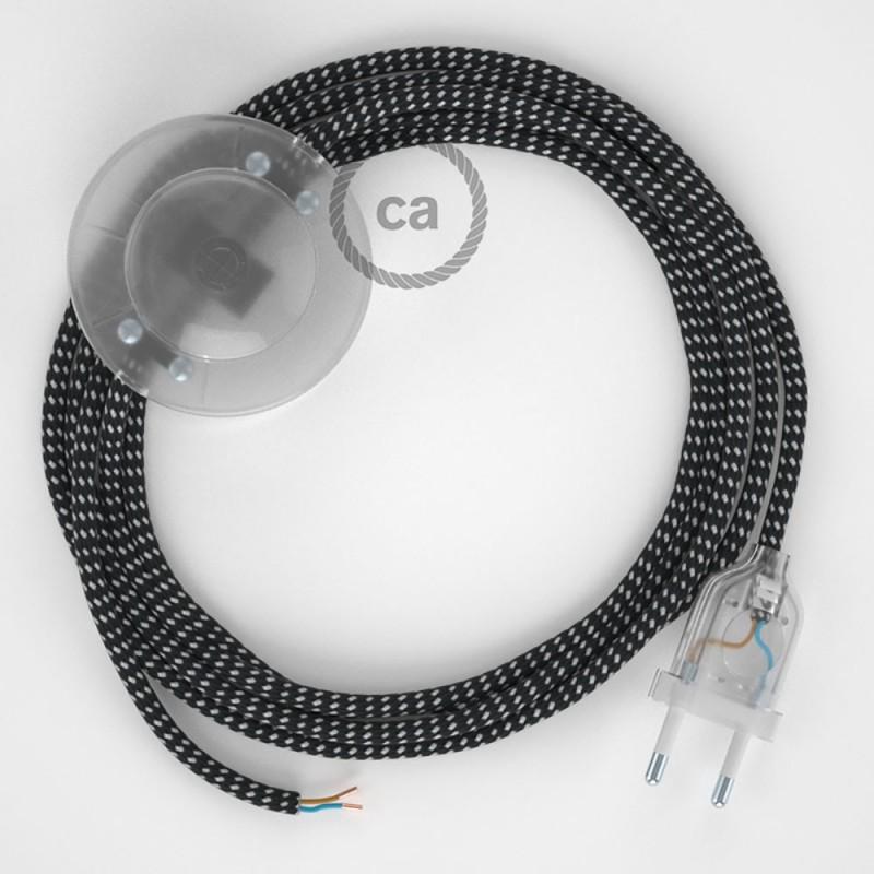 """Napajecí kabel pro stojící lampu, RT41 """"Stars"""" hedvábný 3 m. Vyberte si barvu vypínače a zástrčky."""