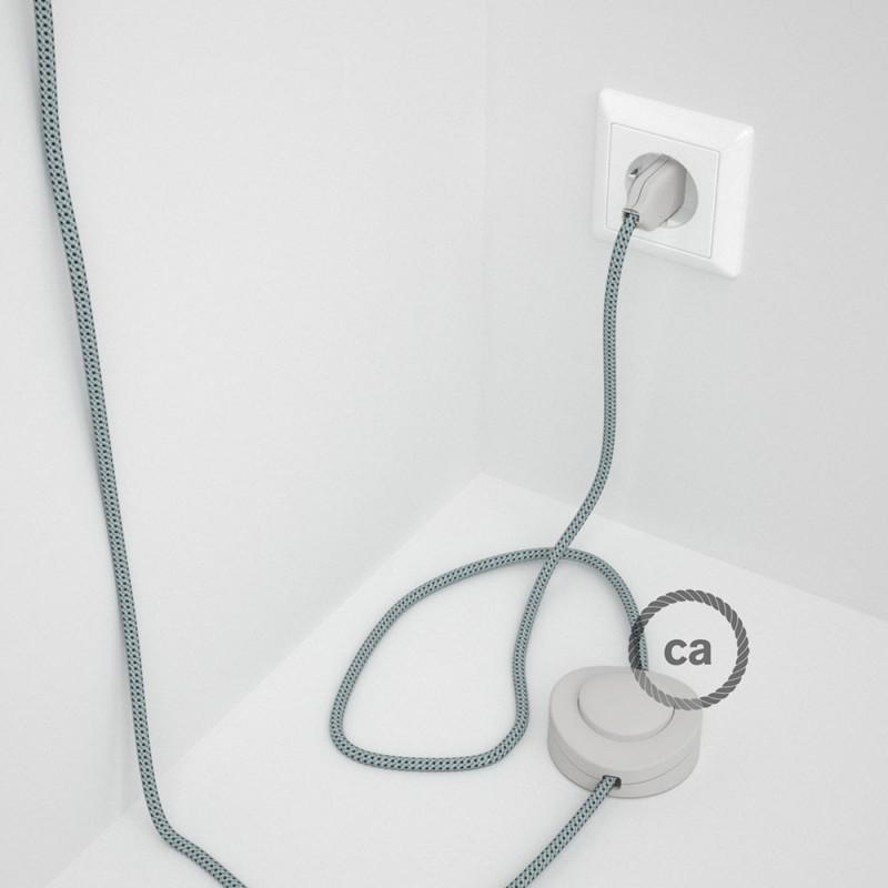 """Napajecí kabel pro stojící lampu, RT14 """"Stracciatella"""" hedvábný 3 m. Vyberte si barvu vypínače a zástrčky."""