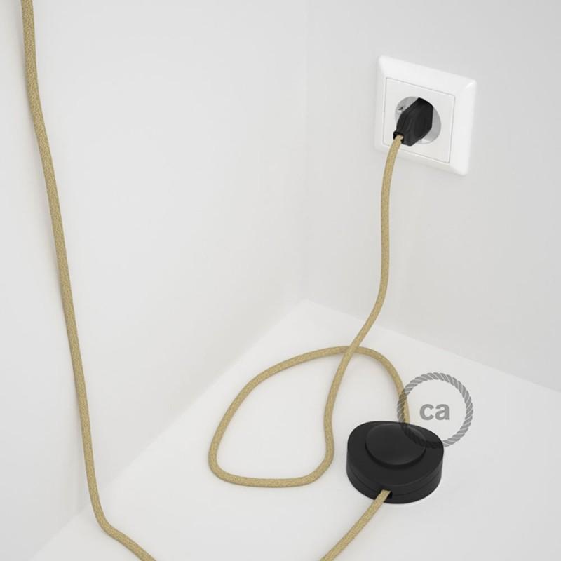 Napajecí kabel pro stojící lampu, RN06 jutový 3 m. Vyberte si barvu vypínače a zástrčky.