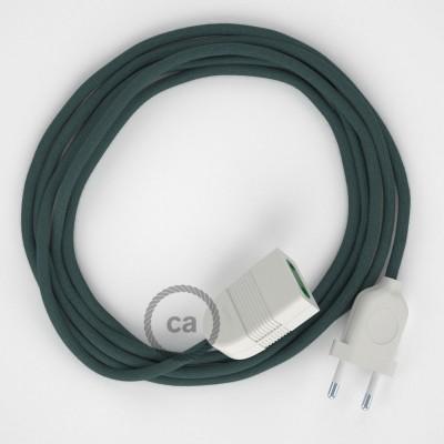 Kamenově šedý bavlněný RC30 2P 10A textilní prodlužovací elektrický kabel. Vyrobený v Itálii.