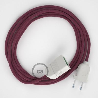 Bordový bavlněný RC32 2P 10A textilní prodlužovací elektrický kabel. Vyrobený v Itálii.