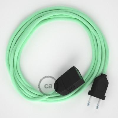 Mléčně - mátový bavlněný RC34 2P 10A textilní prodlužovací elektrický kabel. Vyrobený v Itálii.