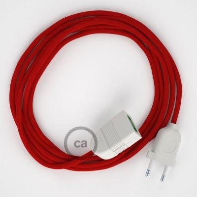 Ohnivě - červený bavlněný RC35 2P 10A textilní prodlužovací elektrický kabel. Vyrobený v Itálii.