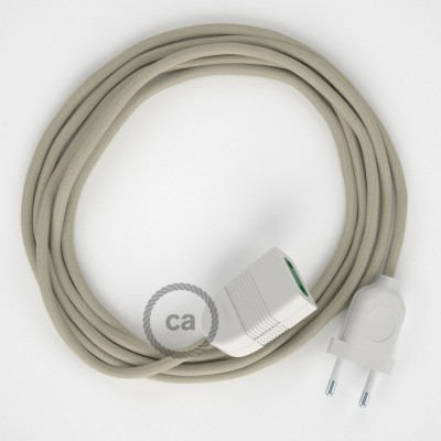 Sivý bavlněný RC43 2P 10A textilní prodlužovací elektrický kabel. Vyrobený v Itálii.