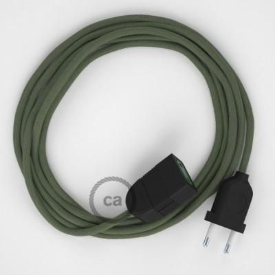 Zeleně - šedý bavlněný RC63 2P 10A textilní prodlužovací elektrický kabel. Vyrobený v Itálii.