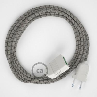 Pruhovaný kůrový bavlněně - lněný RD53 2P 10A textilní prodlužovací elektrický kabel. Vyrobený v Itálii.