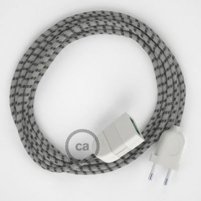 Pruhovaný antracitový bavlněně - lněný RD54 2P 10A textilní prodlužovací elektrický kabel. Vyrobený v Itálii.