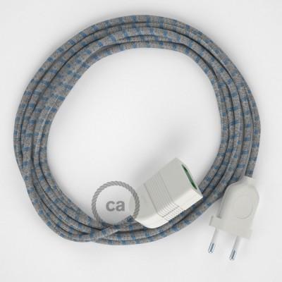 Pruhovaný modrý bavlněně - lněný RD55 2P 10A textilní prodlužovací elektrický kabel. Vyrobený v Itálii.