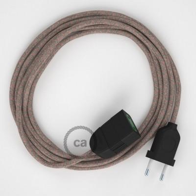 Kosočtvercový starorůžový bavlněně - lněný RD61 2P 10A textilní prodlužovací elektrický kabel. Vyrobený v Itálii.