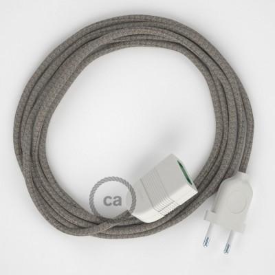 Kosočtvercový tymiánový bavlněně - lněný RD62 2P 10A textilní prodlužovací elektrický kabel. Vyrobený v Itálii.