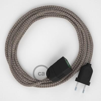 Kosočtvercový kůrový bavlněně - lněný RD63 2P 10A textilní prodlužovací elektrický kabel. Vyrobený v Itálii.