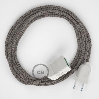 Kosočtvercový antracitový bavlněně - lněný RD64 2P 10A textilní prodlužovací elektrický kabel. Vyrobený v Itálii.