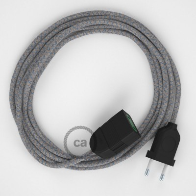 Kosočtvercový modrý bavlněně - lněný RD65 2P 10A textilní prodlužovací elektrický kabel. Vyrobený v Itálii.