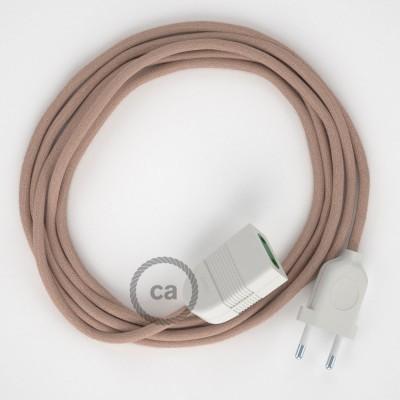 Cik - cak starorůžový bavlněně - lněný RD71 2P 10A textilní prodlužovací elektrický kabel. Vyrobený v Itálii.