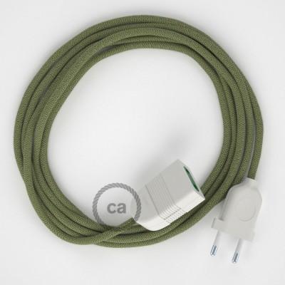 Pruhovaný tymiánový bavlněně - lněný RD72 2P 10A textilní prodlužovací elektrický kabel. Vyrobený v Itálii.