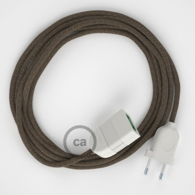 Cik - cak kůrový bavlněně - lněný RD73 2P 10A textilní prodlužovací elektrický kabel. Vyrobený v Itálii.