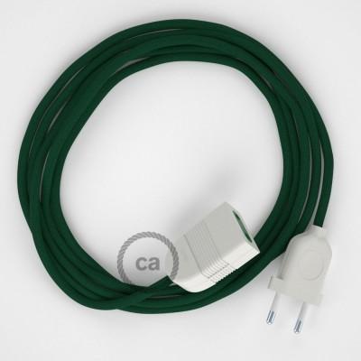 Tmavě zelený hedvábný RM21 2P 10A textilní prodlužovací elektrický kabel. Vyrobený v Itálii.