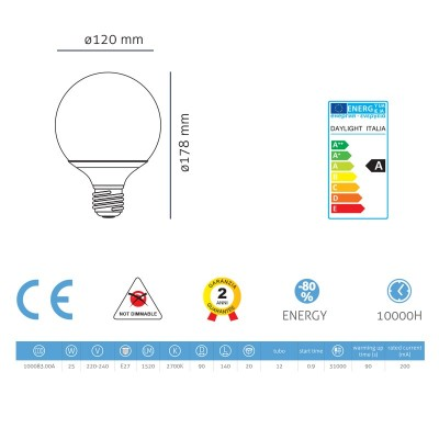 Úsporná žárovka Globe 90 30W E27