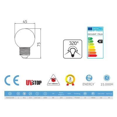 LED žárovka Sphere 4W E14 Námraza