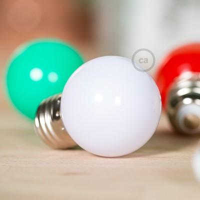 Dekorativní G45 Miniglóbusová LED žárovka 1W E27 2700K - mléčná