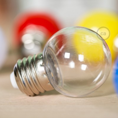 Dekorativní G45 Miniglóbusová LED žárovka 1W E27 2700K - transparentní