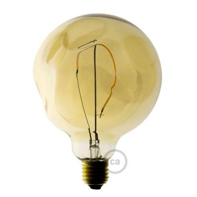 Zlatá LED žárovka - Glóbus G125 s jedním vláknem s nepravidelnou baňkou – 2.5W E27 Dekorativní vintage 2000K