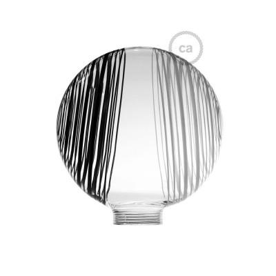 Bílá skleněná baňka pro modulární dekorativní žárovku G125 s černo-bílými kruhy