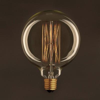 Zlatá Vintage glóbusová žárovka G125 se svislým uhlíkovým vláknem 25W E27 stmívatelná 2000K