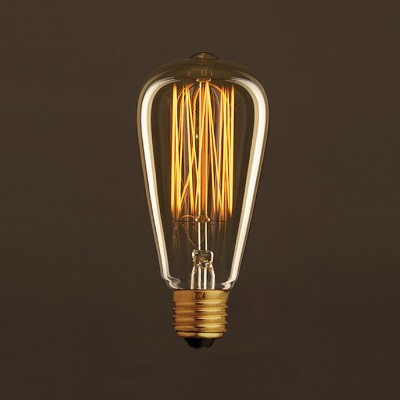 Zlatá vintage žárovka ST64 Edison s vertilálním uhlíkovým vláknem 25W E27 stmívatelná 2000K